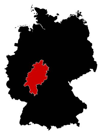 highlighted: Map of Germany in black, Hesse is highlighted in red.