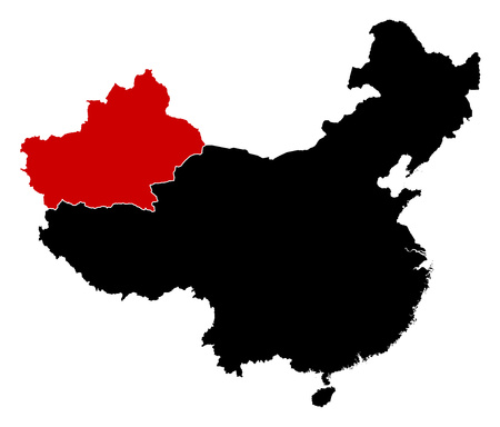 prc: Map of China in black, Xinjiang is highlighted in red.