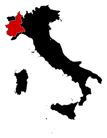 Map of Italy in black, Piemont is highlighted in red. Ilustracja