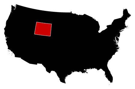 블랙, 와이오밍에있는 미국의지도는 빨간색으로 강조 표시됩니다. 일러스트