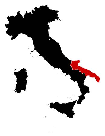 Map of Italy in black, Apulia is highlighted in red.