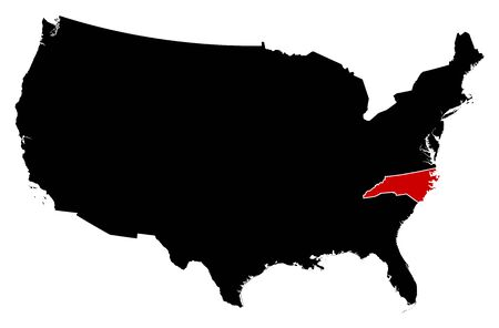 frontiers: Map of United States in black, North Carolina is highlighted in red. Illustration