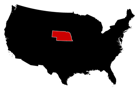 ne: Map of United States in black, Nebraska is highlighted in red. Illustration