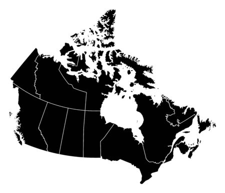 Carte du Canada en noir avec les provinces.