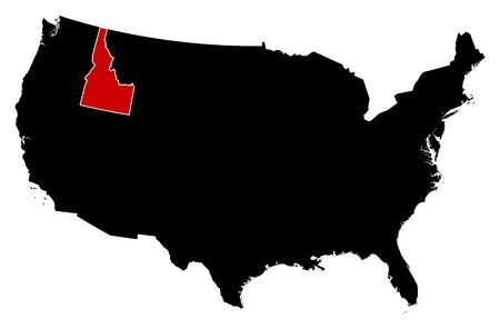 subdivisions: Map of United States in black, Idaho is highlighted in red. Illustration