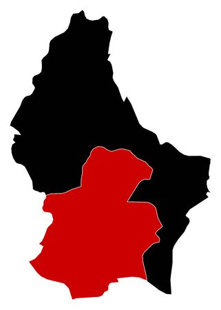 wallonie: Map of Luxembourg in black, Luxembourg is highlighted in red.