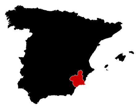 murcia: Map of Spain in black, Murcia is highlighted in red.