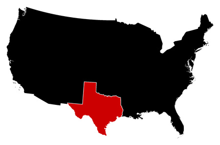 tx: Map of United States in black, Texas is highlighted in red. Illustration