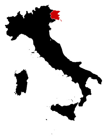 frontiers: Map of Italy in black, Friuli-Venezia Giulia is highlighted in red. Illustration