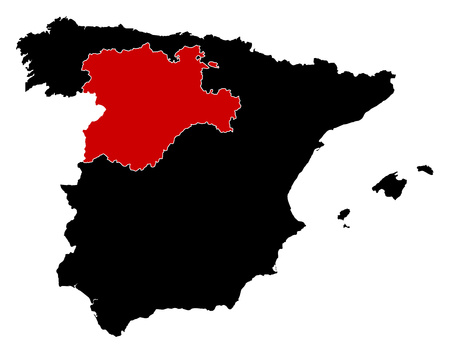 len: Map of Spain in black, Castile and Le?n is highlighted in red. Illustration