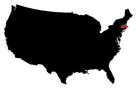 frontiers: Map of United States in black, Massachusetts is highlighted in red. Illustration