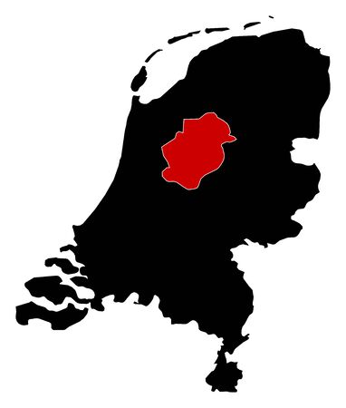 flevoland: Map of Netherlands in black, Flevoland is highlighted in red.