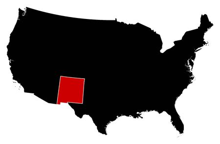 nm: Map of United States in black, New Mexico is highlighted in red. Illustration