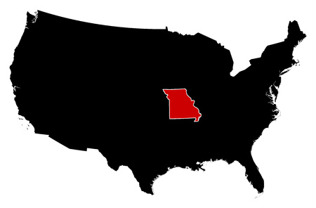 Map of United States in black, Missouri is highlighted in red. Illustration