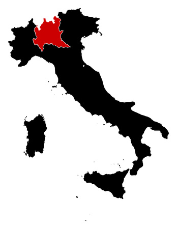 lombardy: Map of Italy in black, Lombardy is highlighted in red. Illustration