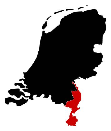 limburg: Map of Netherlands in black, Limburg is highlighted in red.