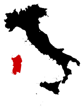 sardinia: Map of Italy in black, Sardinia is highlighted in red.