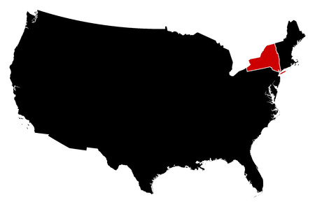 Map of United States in black, New York is highlighted in red. Illustration