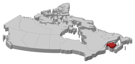 nb: Map of Canada as a gray piece., New Brunswick is highlighted in red. Illustration