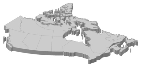 frontiers: Map of Canada as a gray piece. Illustration