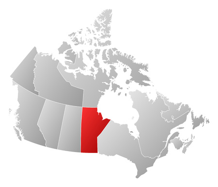 manitoba: Map of Canada with the provinces, filled with a linear gradient, Manitoba is highlighted. Illustration
