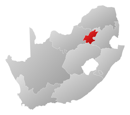gauteng: Map of South Africa with the provinces, filled with a linear gradient, Gauteng is highlighted.