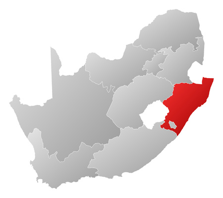 tone shading: Map of South Africa with the provinces, filled with a linear gradient, KwaZulu-Natal is highlighted. Illustration