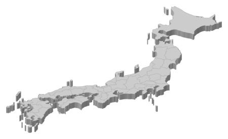 mapa politico: Mapa de Japón como una pieza de color gris.