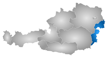 tone shading: Map of Austria with the provinces, filled with a radial gradient, Burgenland is highlighted.
