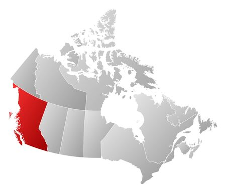 british columbia: Map of Canada with the provinces, filled with a linear gradient, British Columbia is highlighted.