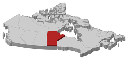 manitoba: Map of Canada as a gray piece., Manitoba is highlighted in red.