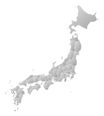 Map of Japan with the provinces, filled with a linear gradient.
