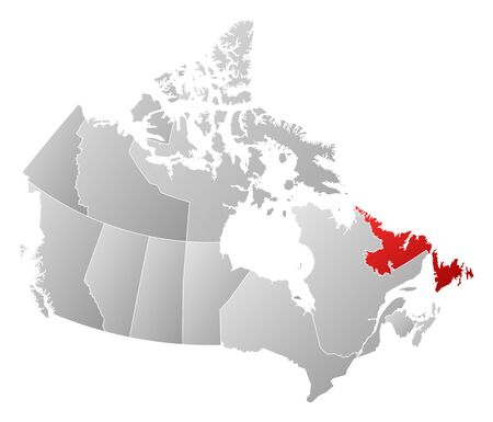 newfoundland: Map of Canada with the provinces, filled with a linear gradient, Newfoundland and Labrador is highlighted.