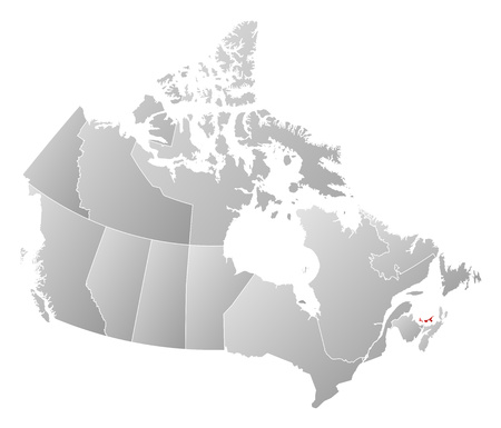 edward: Map of Canada with the provinces, filled with a linear gradient, Prince Edward Island is highlighted.