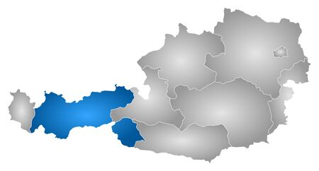tirol: Map of Austria with the provinces, filled with a radial gradient, Tyrol is highlighted.