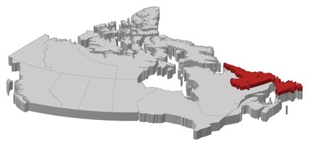 newfoundland: Map of Canada as a gray piece., Newfoundland and Labrador is highlighted in red. Illustration