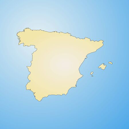 tone shading: Map of Spain, filled with a radial gradient. Illustration
