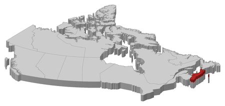 nova: Map of Canada as a gray piece., Nova Scotia is highlighted in red.