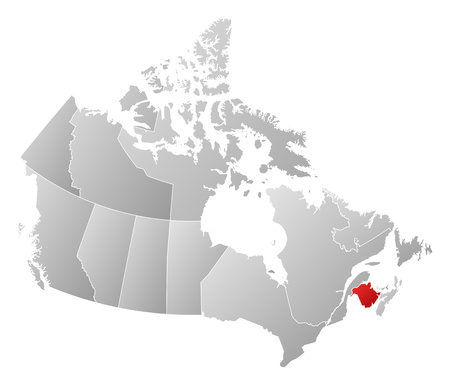 nb: Map of Canada with the provinces, filled with a linear gradient, New Brunswick is highlighted. Illustration