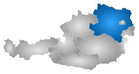 regions: Map of Austria with the provinces, filled with a radial gradient, Lower Austria is highlighted. Illustration