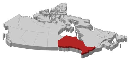 ontario: Map of Canada as a gray piece., Ontario is highlighted in red.