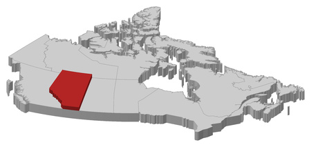 alberta: Map of Canada as a gray piece., Alberta is highlighted in red.