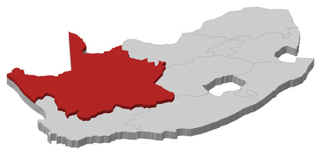 northern cape: Map of South Africa as a gray piece., Northern Cape is highlighted in red.