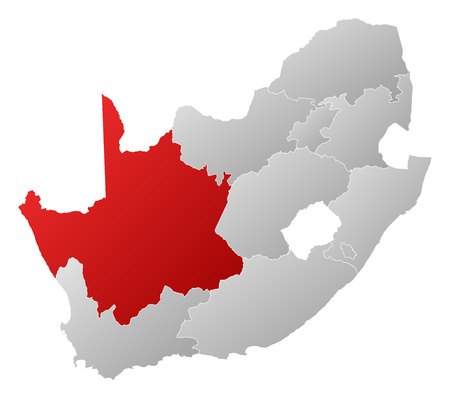 northern cape: Map of South Africa with the provinces, filled with a linear gradient, Northern Cape is highlighted.