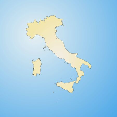 tone shading: Map of Italy, filled with a radial gradient.