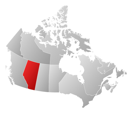 alberta: Map of Canada with the provinces, filled with a linear gradient, Alberta is highlighted. Illustration