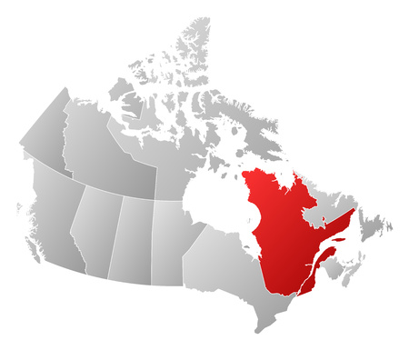 qc: Map of Canada with the provinces, filled with a linear gradient, Quebec is highlighted.