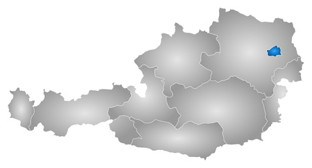 tone shading: Map of Austria with the provinces, filled with a radial gradient, Vienna is highlighted.