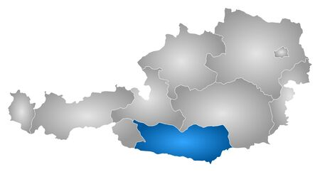 Map of Austria with the provinces, filled with a radial gradient, Carinthia is highlighted.