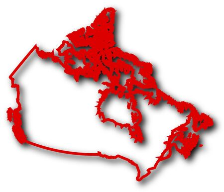 Map of Canada in red contour lines with Shadow.